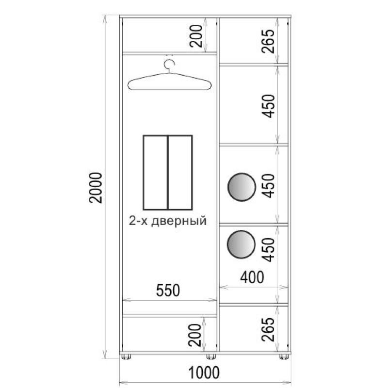 Шафа-купе 2 двері ДСП/ДСП Класік-1 100*200*45 колір Дуб трюффель